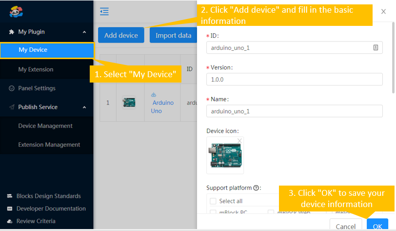 add device to mBlock extension builder