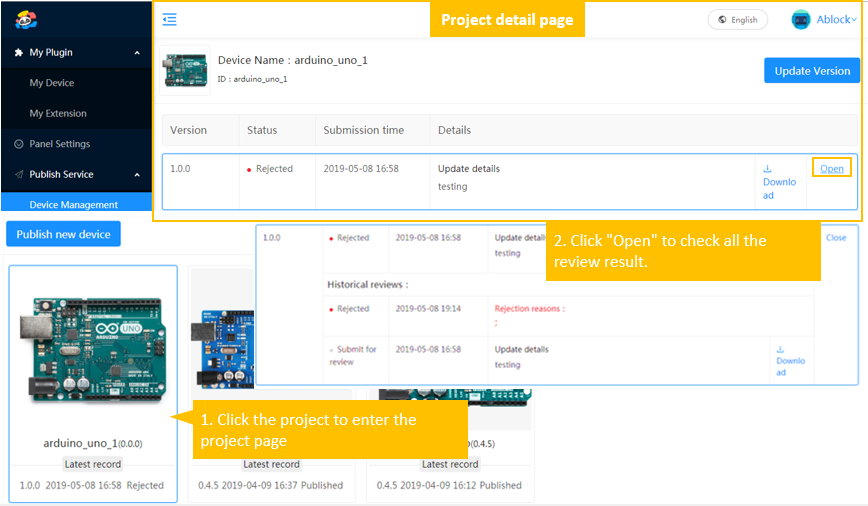 mBlock extension builder check project review result